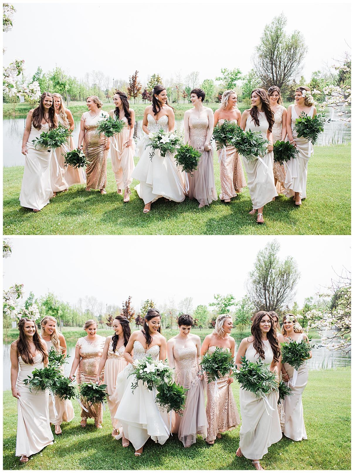 Bride and bridesmaids walking and laughing outside|  Belcroft Estate Wedding| Toronto wedding photographer| Ontario wedding photographer| 3photography