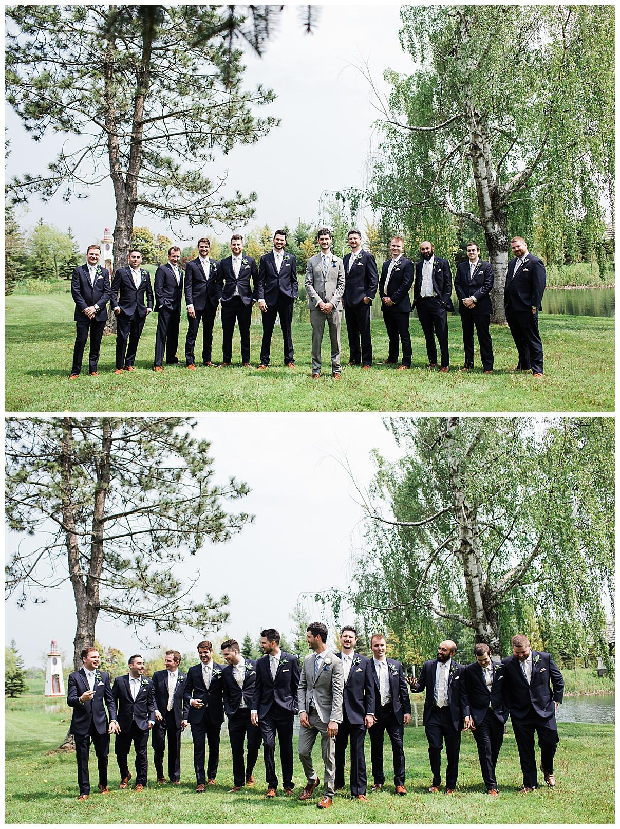 Groom and groomsmen standing outside under trees| Belcroft Estate Wedding| Toronto wedding photographer| Ontario wedding photographer| 3photography