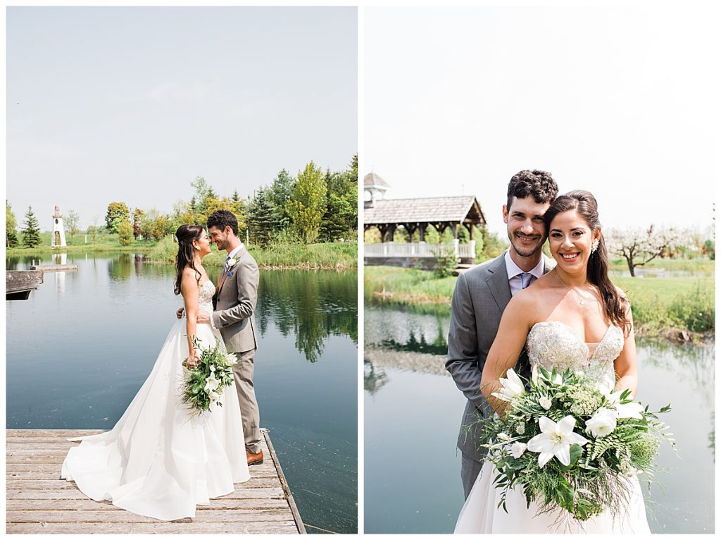 Bride and groom stand together on dock with lake in background| Belcroft Estate Wedding| Toronto wedding photographer| Ontario wedding photographer| 3photography
