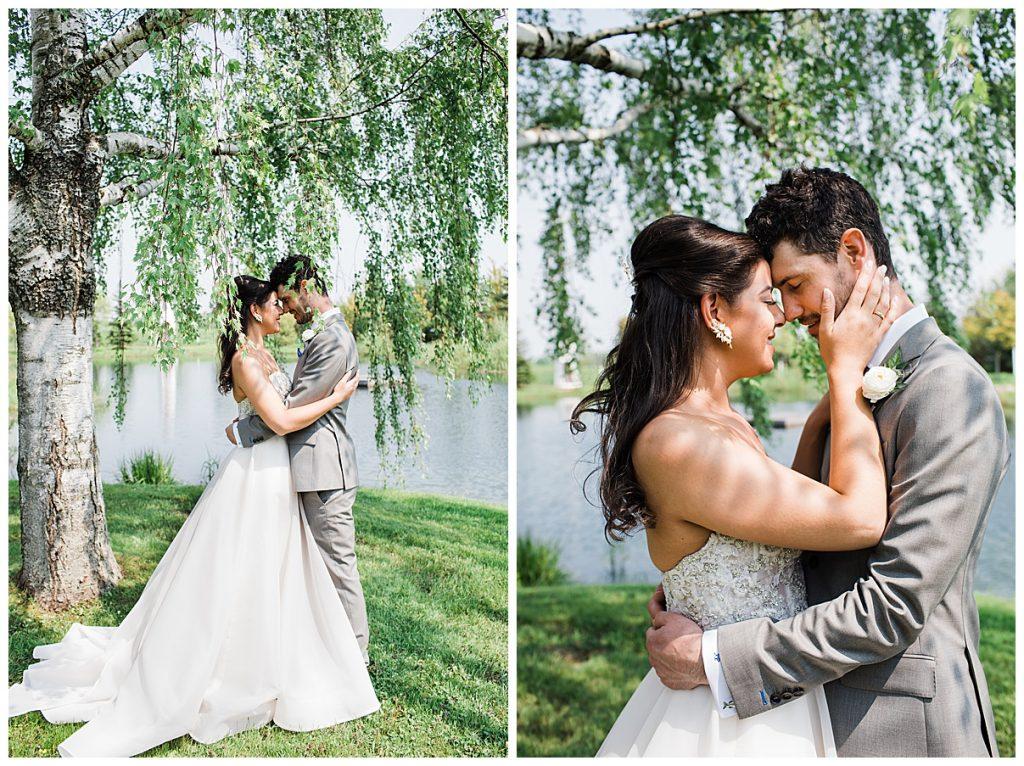 Bride and groom kiss under weeping willow| tree-farm wedding | Belcroft Estate Wedding| Toronto wedding photographer| Ontario wedding photographer| 3photography