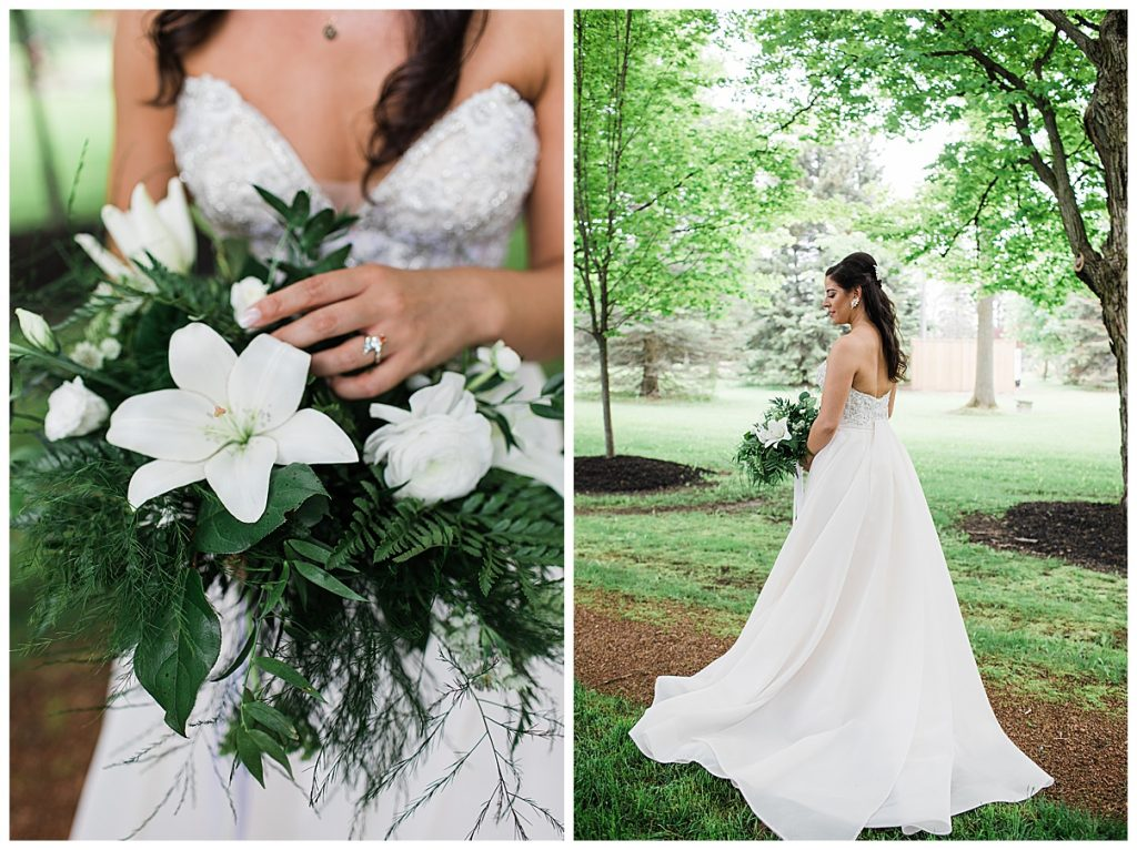 Bride under trees and holding green bouquet with white flowers| Belcroft Estate Wedding| Toronto wedding photographer| Ontario wedding photographer| 3photography