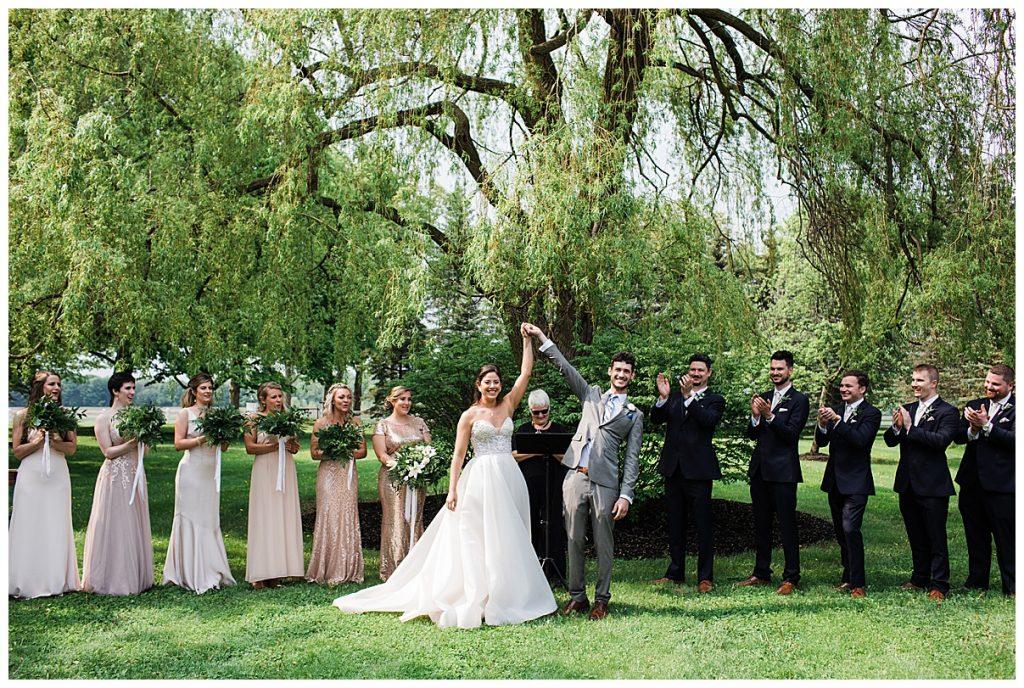 Bride and groom married at tree-farm wedding ceremony| Belcroft Estate Wedding| Toronto wedding photographer| Ontario wedding photographer| 3photography