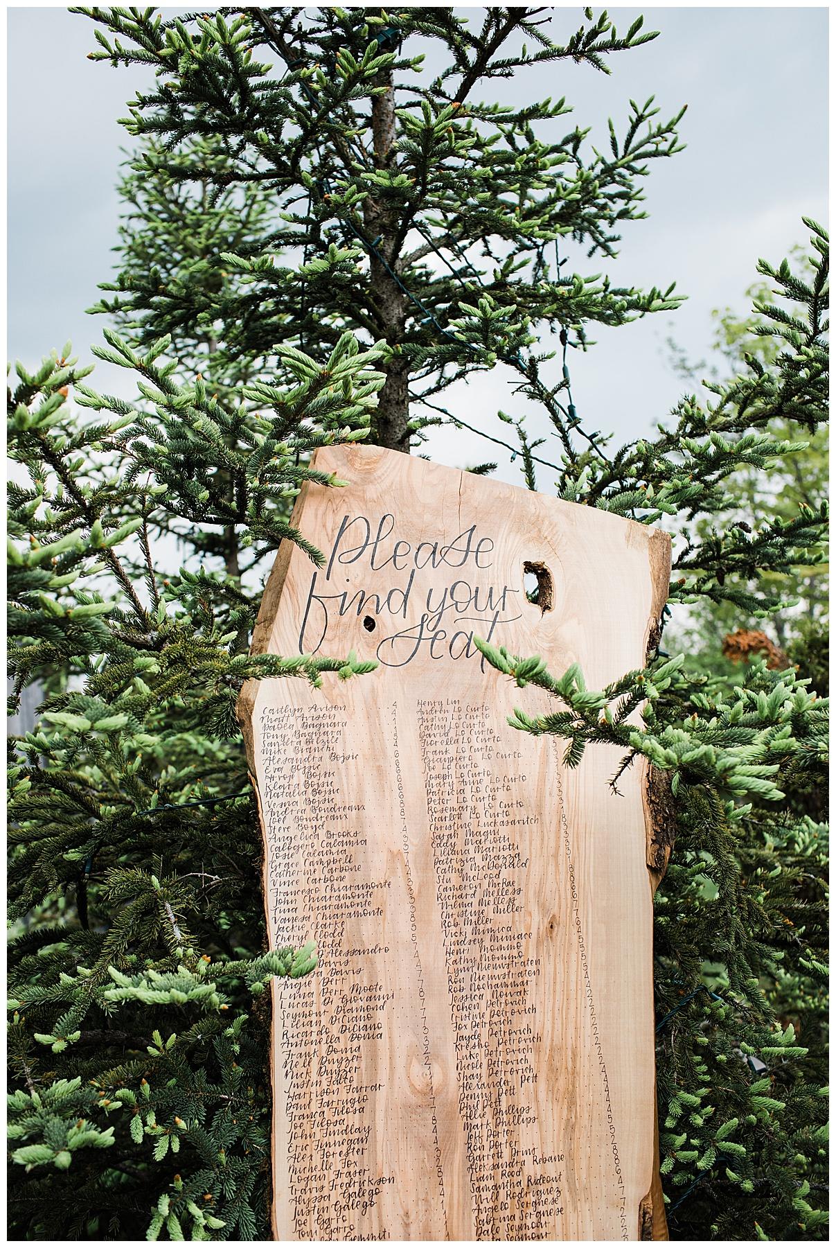 Gorgeous outdoor wedding seating chart sign | tree farm wedding| Belcroft Estate Wedding| Toronto wedding photographer| Ontario wedding photographer| 3photography