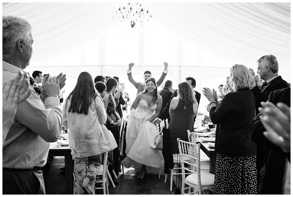 Bride and groom walk into reception | outdoor wedding reception| Belcroft Estate Wedding| Toronto wedding photographer| Ontario wedding photographer| 3photography