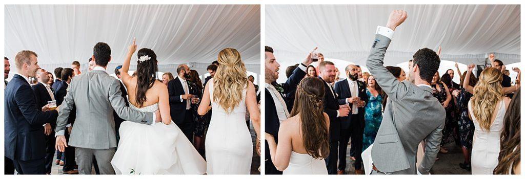 Bride and groom dancing with wedding guests | Belcroft Estate Wedding| Toronto wedding photographer| Ontario wedding photographer| 3photography