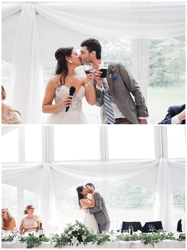 Bride and groom kiss after giving speech| Outdoor wedding| Wedding reception tent| Belcroft Estate Wedding| Toronto wedding photographer| Ontario wedding photographer| 3photography
