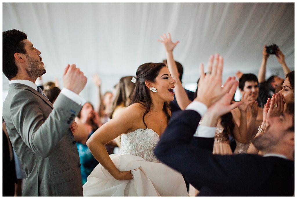 Bride dancing with wedding guests| Belcroft Estate Wedding| Toronto wedding photographer| Ontario wedding photographer| 3photography