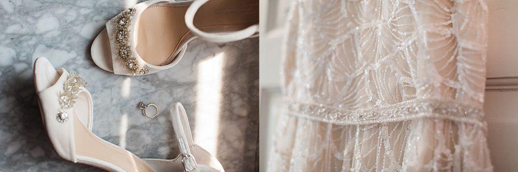 Wedding dress details, engagement ring, wedding shoes | Balls Falls, Ontario Wedding| Ontario Wedding Photographer| Toronto Wedding Photographer| 3Photography|3photography.ca
