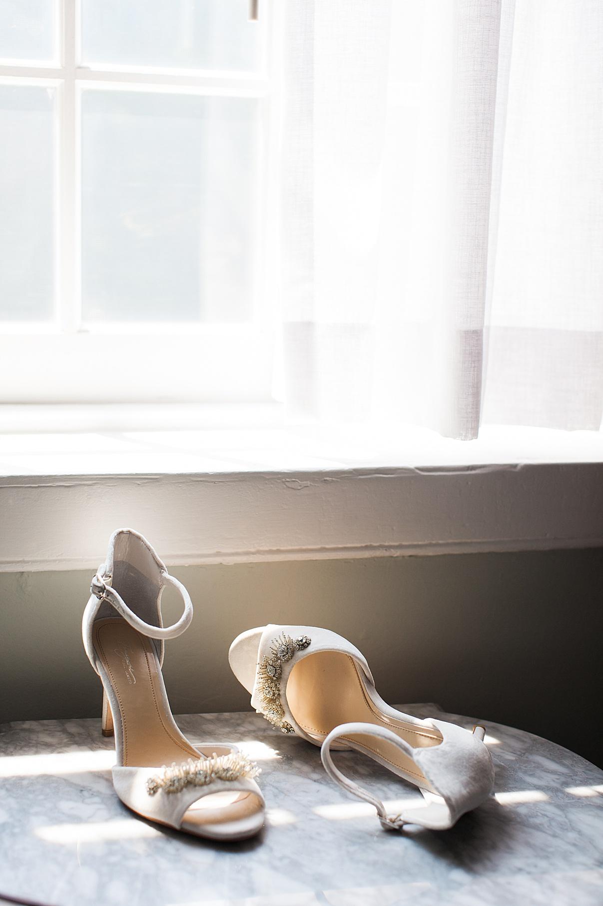 Wedding heels in gorgeous window lighting | Balls Falls, Ontario Wedding| Ontario Wedding Photographer| Toronto Wedding Photographer| 3Photography|3photography.ca