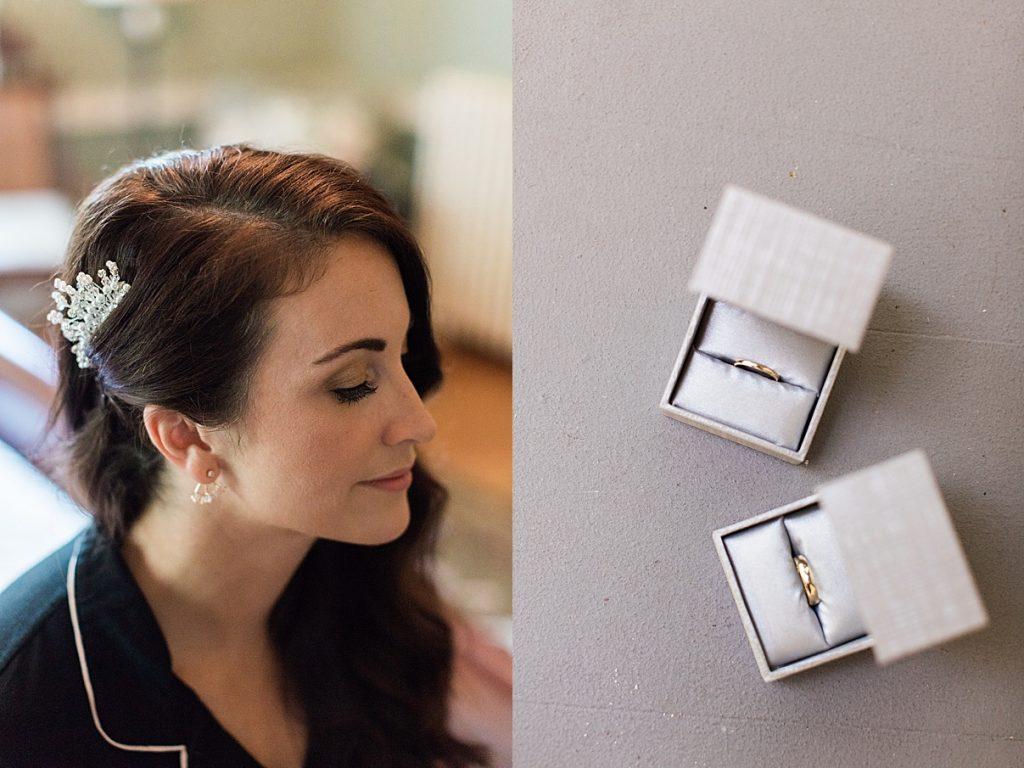 Bridal hairpiece and earrings| Wedding rings | Balls Falls, Ontario Wedding| Ontario Wedding Photographer| Toronto Wedding Photographer| 3Photography|3photography.ca