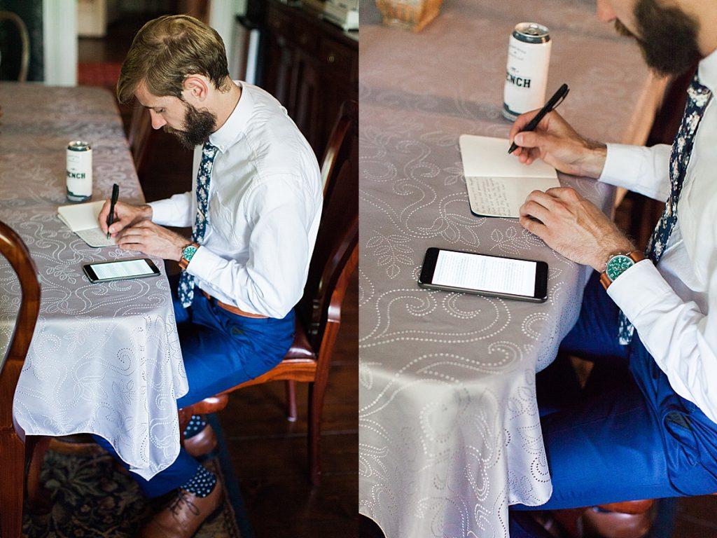 Groom writing vows at table | Balls Falls, Ontario Wedding| Ontario Wedding Photographer| Toronto Wedding Photographer| 3Photography|3photography.ca