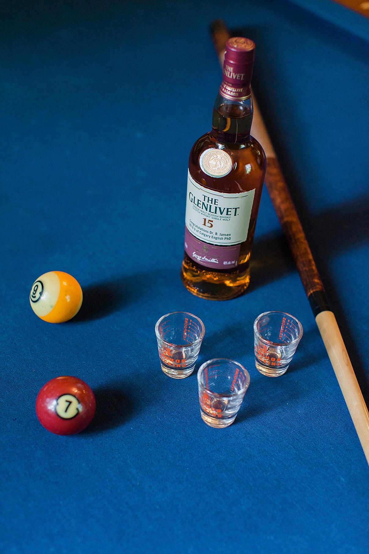 Bottle of Scotch and pool table | Balls Falls, Ontario Wedding| Ontario Wedding Photographer| Toronto Wedding Photographer| 3Photography|3photography.ca
