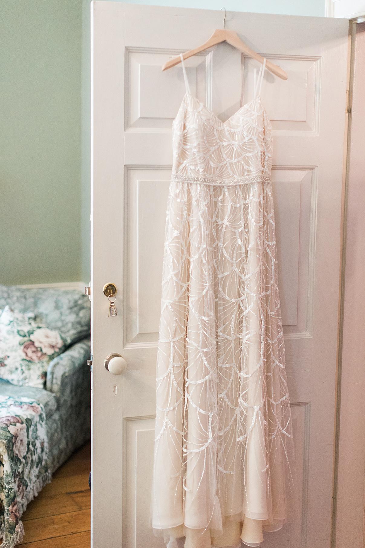 Wedding dress hanging on door | Balls Falls, Ontario Wedding| Ontario Wedding Photographer| Toronto Wedding Photographer| 3Photography|3photography.ca