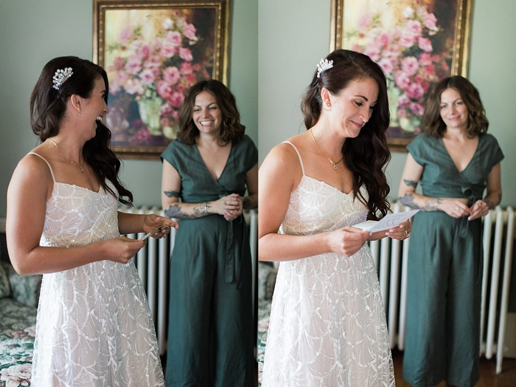 Bride reading letter while getting ready | Balls Falls, Ontario Wedding| Ontario Wedding Photographer| Toronto Wedding Photographer| 3Photography|3photography.ca