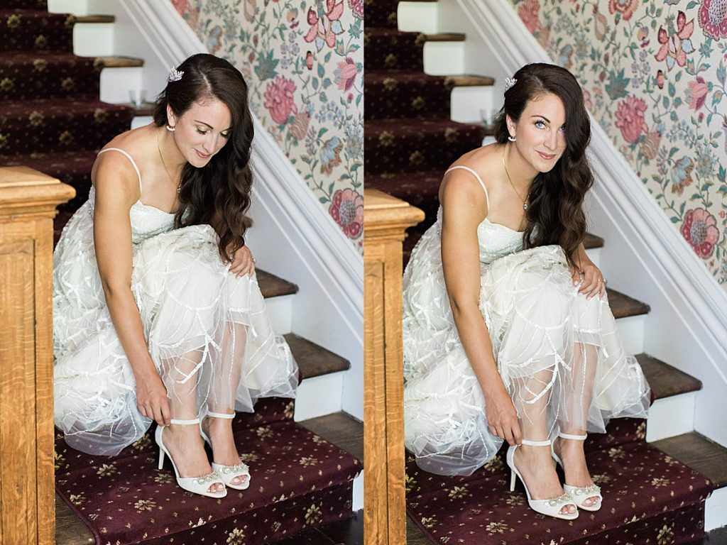Bride on stairs touching her wedding heels | Balls Falls, Ontario Wedding| Ontario Wedding Photographer| Toronto Wedding Photographer| 3Photography|3photography.ca