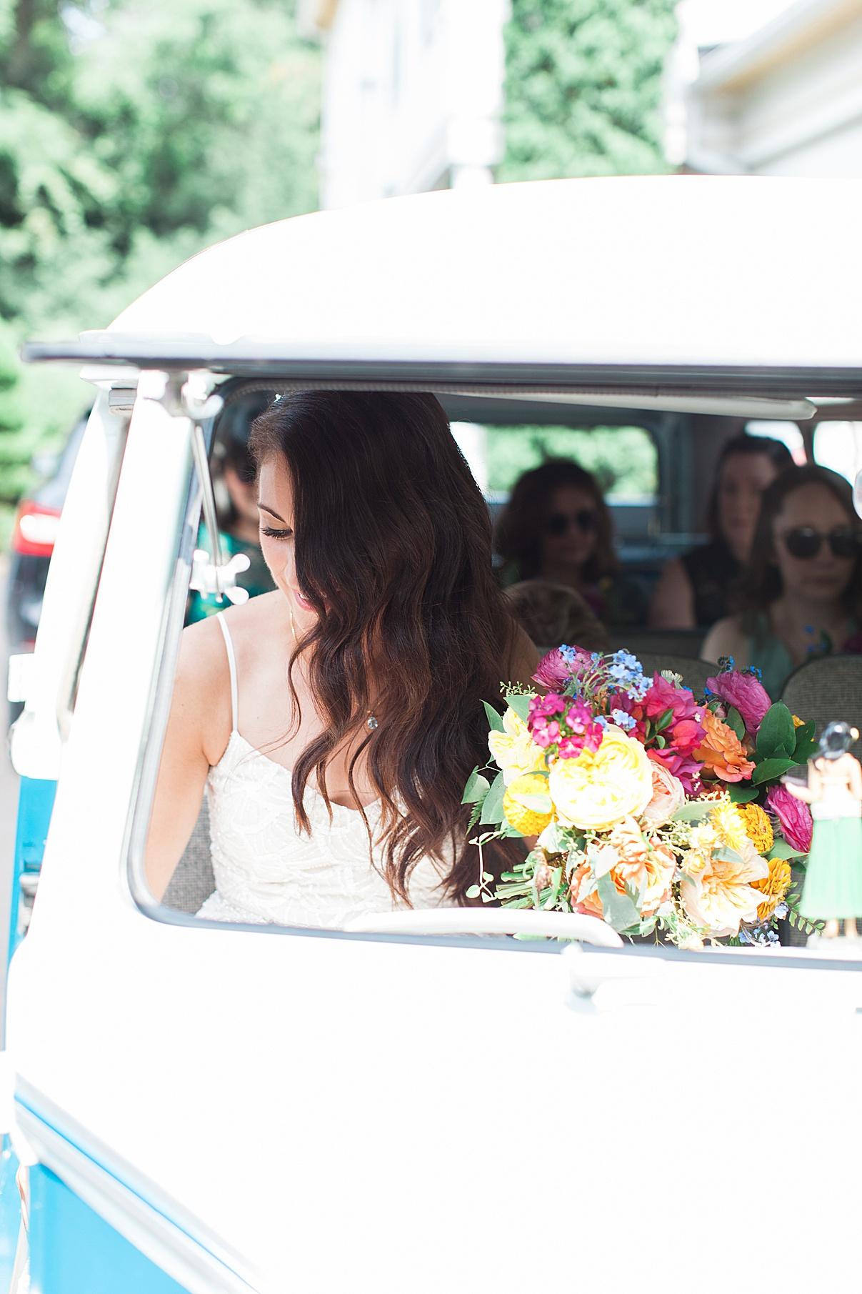 Bride and bridesmaids in retro bus | Balls Falls, Ontario Wedding| Ontario Wedding Photographer| Toronto Wedding Photographer| 3Photography|3photography.ca