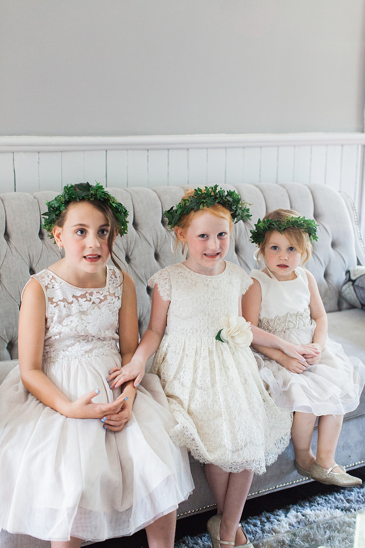 Flower girls smiling on couch | Balls Falls, Ontario Wedding| Ontario Wedding Photographer| Toronto Wedding Photographer| 3Photography|3photography.ca