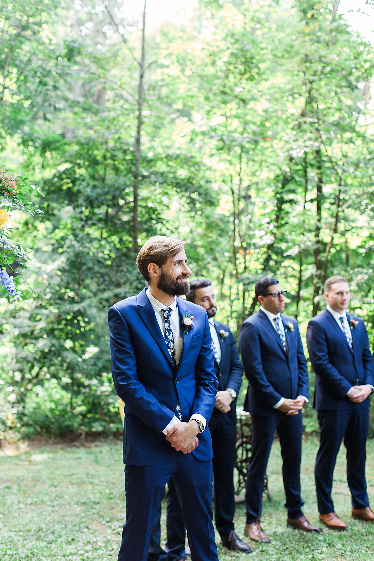 Groom smiling at alter | Balls Falls, Ontario Wedding| Ontario Wedding Photographer| Toronto Wedding Photographer| 3Photography|3photography.ca 040