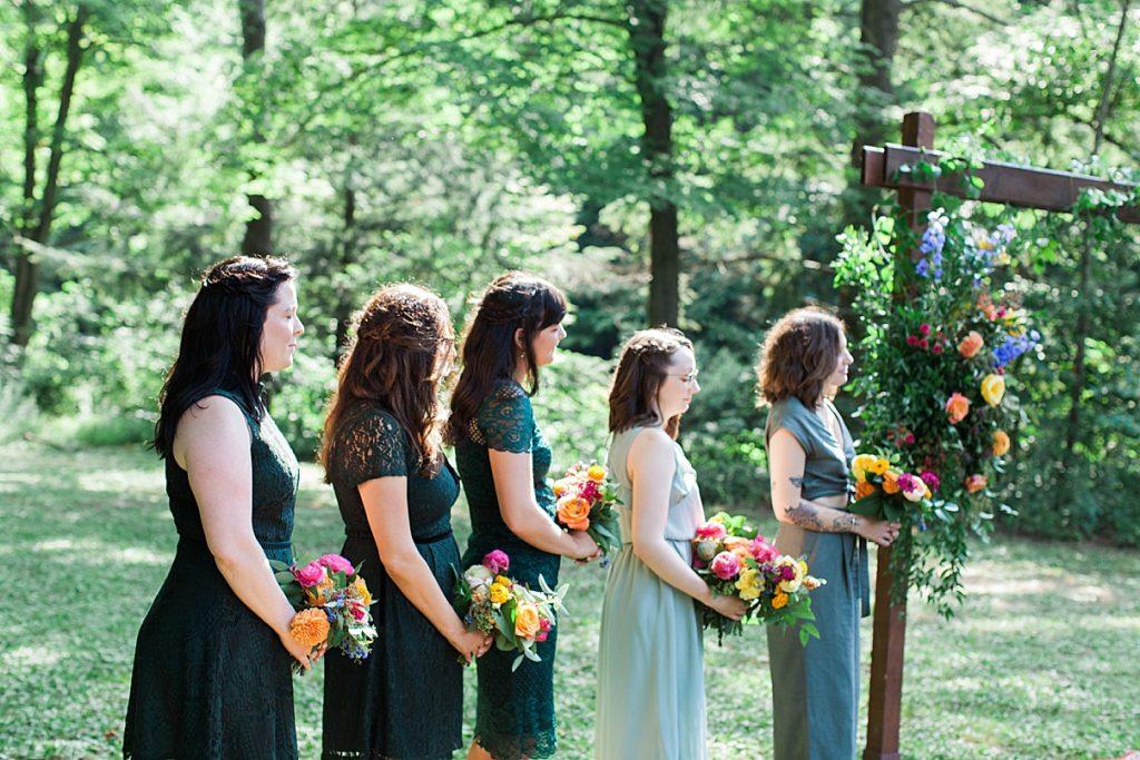 Bridesmaids stand at alter at Balls Falls Wedding | Balls Falls, Ontario Wedding| Ontario Wedding Photographer| Toronto Wedding Photographer| 3Photography|3photography.ca