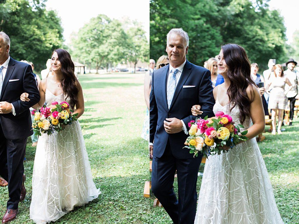 Bride walks down aisle Balls Falls wedding| Balls Falls, Ontario Wedding| Ontario Wedding Photographer| Toronto Wedding Photographer| 3Photography| 3photography.ca