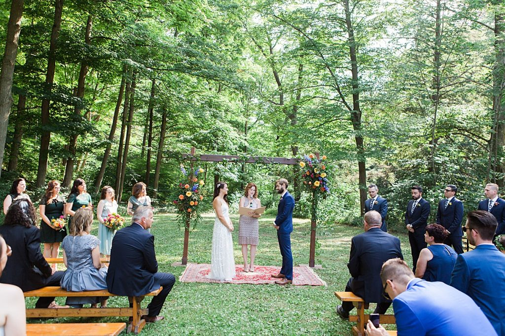 Bride and groom smiling at alter| Balls Falls, Ontario Wedding| Ontario Wedding Photographer| Toronto Wedding Photographer| 3Photography| 3photography.ca