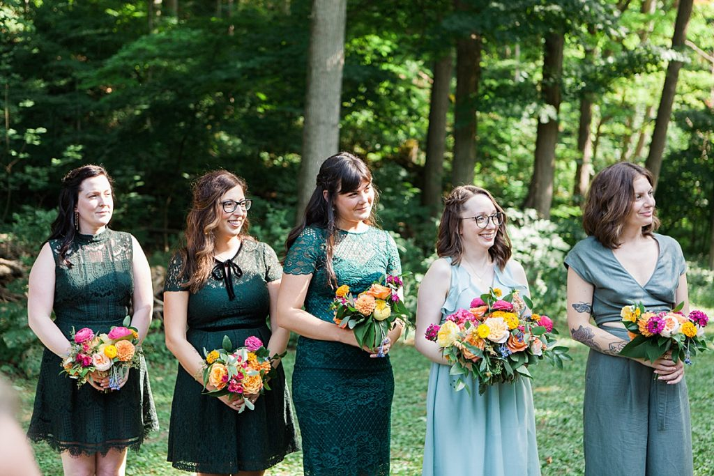 Bridesmaids standing at alter during ceremony | Balls Falls, Ontario Wedding| Ontario Wedding Photographer| Toronto Wedding Photographer| 3Photography| 3photography.ca