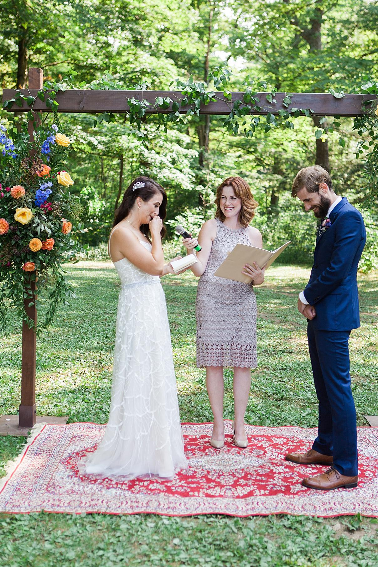 Bride crying during vows | Balls Falls, Ontario Wedding| Ontario Wedding Photographer| Toronto Wedding Photographer| 3Photography| 3photography.ca