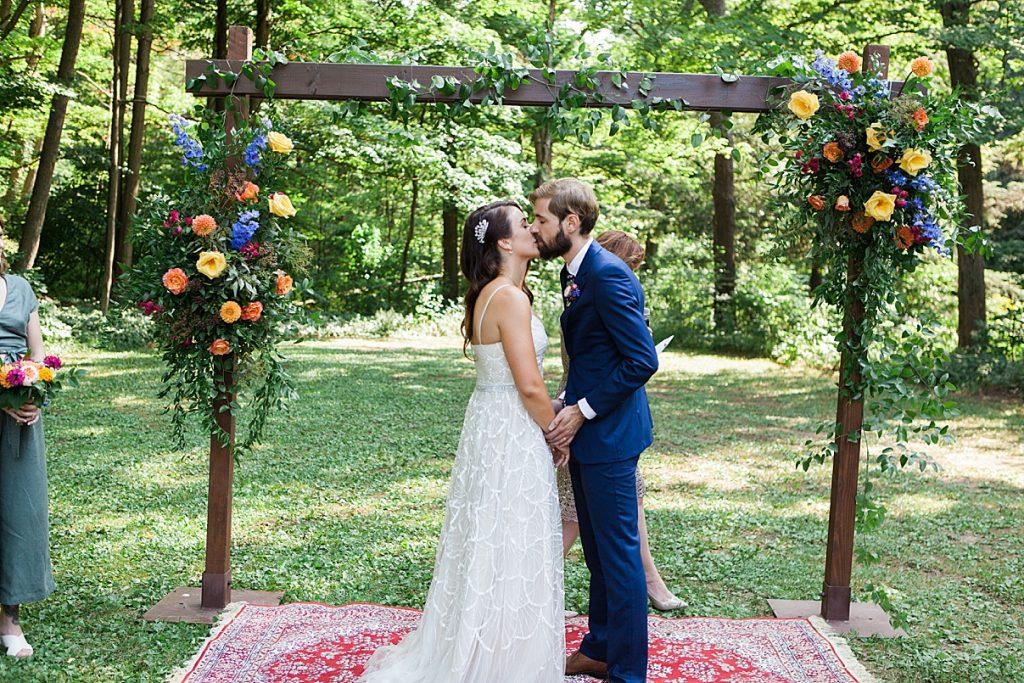 First kiss as husband and wife | Balls Falls, Ontario Wedding| Ontario Wedding Photographer| Toronto Wedding Photographer| 3Photography| 3photography.ca