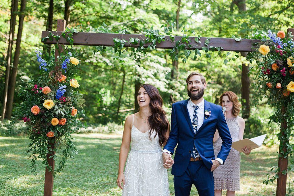 Bride and groom walking out after ceremony | Balls Falls, Ontario Wedding| Ontario Wedding Photographer| Toronto Wedding Photographer| 3Photography| 3photography.ca