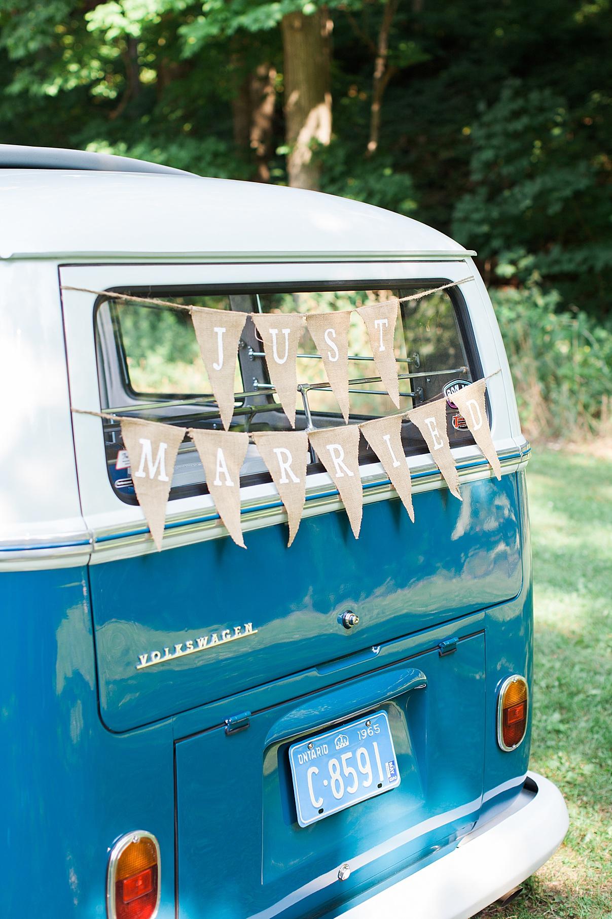 Just married getaway vehicle small vintage bus  Balls Falls, Ontario Wedding  Ontario Wedding Photographer  Toronto Wedding Photographer  3Photography  3photography.ca