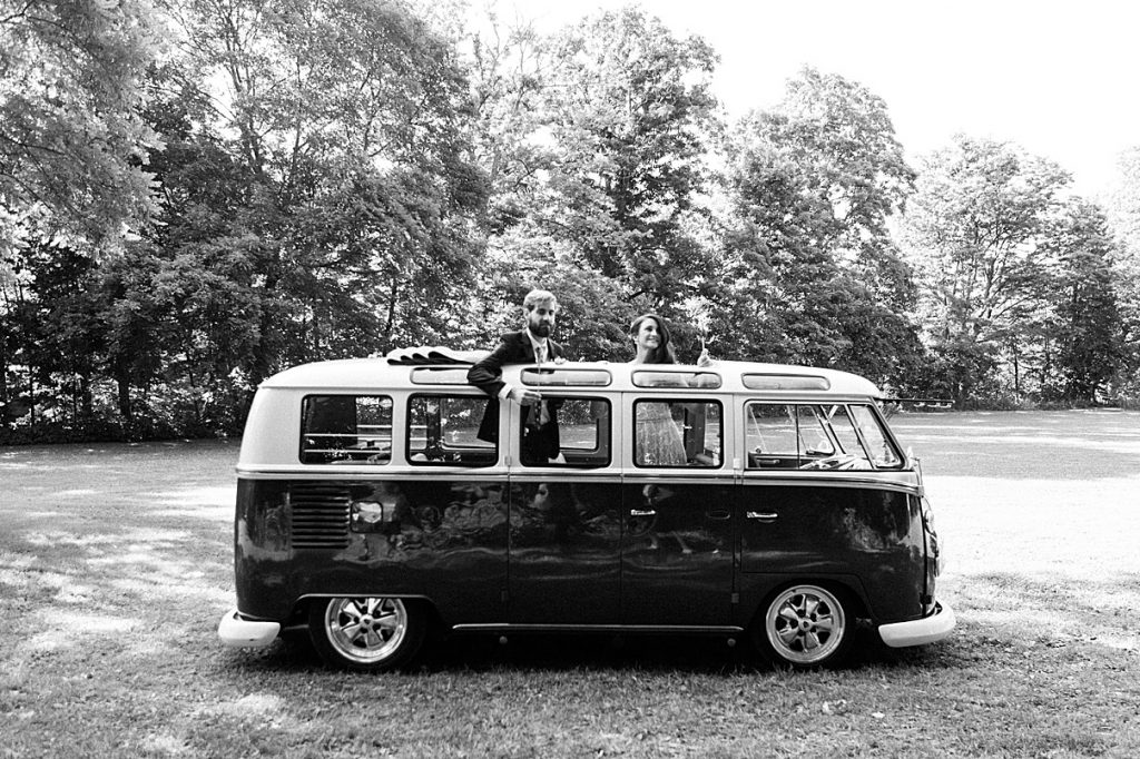 Black and white bride and groom through sunroof of vintage bus | Balls Falls, Ontario Wedding| Ontario Wedding Photographer| Toronto Wedding Photographer| 3Photography| 3photography.ca