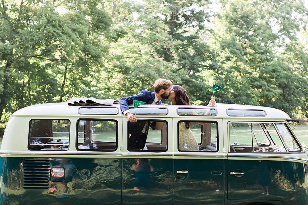 Groom and bride kiss outside of sunroof in vintage small bus | Balls Falls, Ontario Wedding| Ontario Wedding Photographer| Toronto Wedding Photographer| 3Photography| 3photography.ca