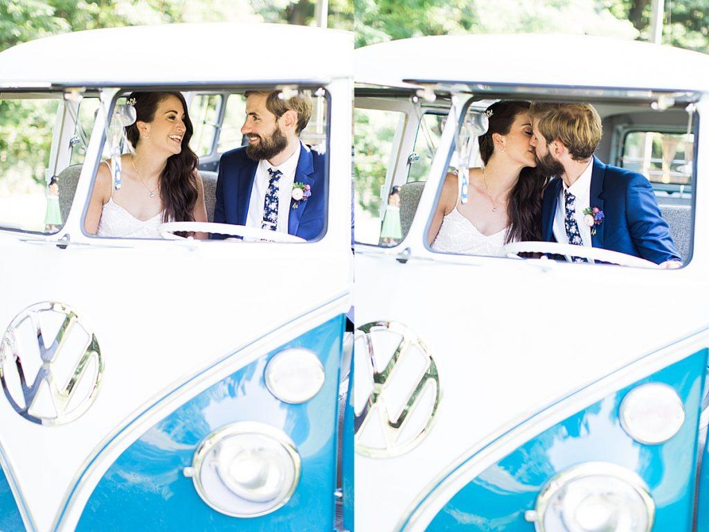 Bride and groom smooch inside vintage small bus | Balls Falls, Ontario Wedding| Ontario Wedding Photographer| Toronto Wedding Photographer| 3Photography| 3photography.ca