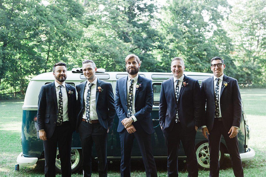 Groomsmen in front of small vintage bus| Balls Falls, Ontario Wedding| Ontario Wedding Photographer| Toronto Wedding Photographer| 3Photography| 3photography.ca