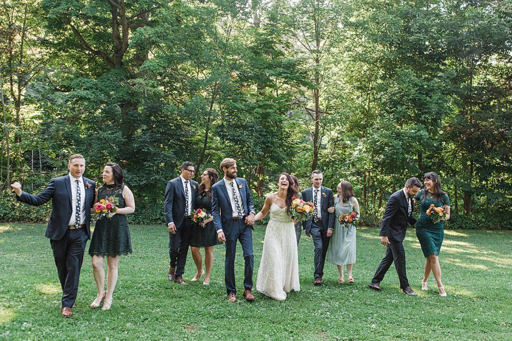 Bridal party excited and celebrating Balls Falls, Ontario Wedding  Ontario Wedding Photographer  Toronto Wedding Photographer  3Photography  3photography.ca