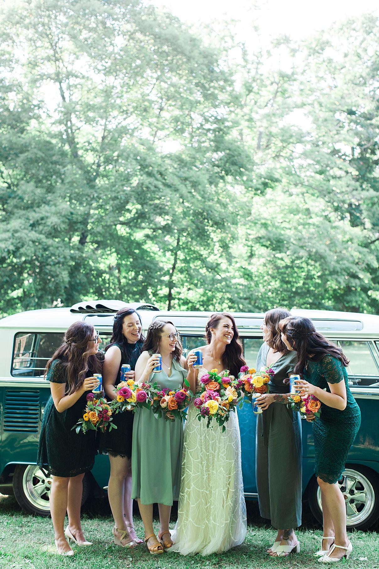 Bride and bridesmaids by vintage bus| Balls Falls, Ontario Wedding| Ontario Wedding Photographer| Toronto Wedding Photographer| 3Photography| 3photography.ca