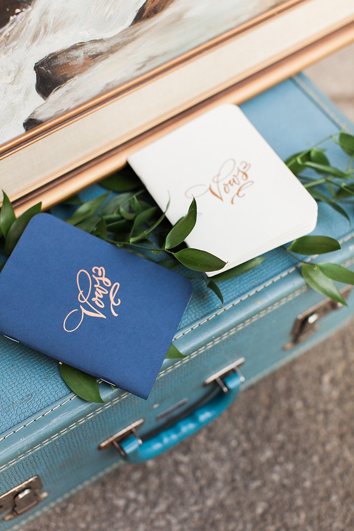 Vow books on vintage suitcase | Balls Falls, Ontario Wedding| Ontario Wedding Photographer| Toronto Wedding Photographer| 3Photography| 3photography.ca