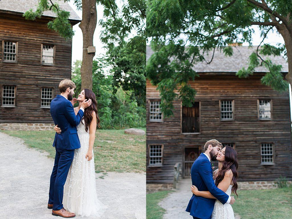 Kisses in front of old house| Balls Falls, Ontario Wedding| Ontario Wedding Photographer| Toronto Wedding Photographer| 3Photography| 3photography.ca