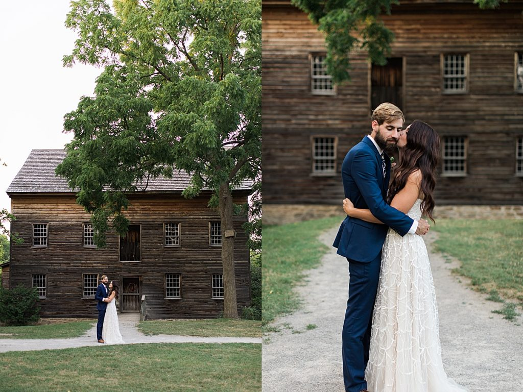 Bride and groom portraits in front of historic house | Balls Falls, Ontario Wedding| Ontario Wedding Photographer| Toronto Wedding Photographer| 3Photography| 3photography.ca