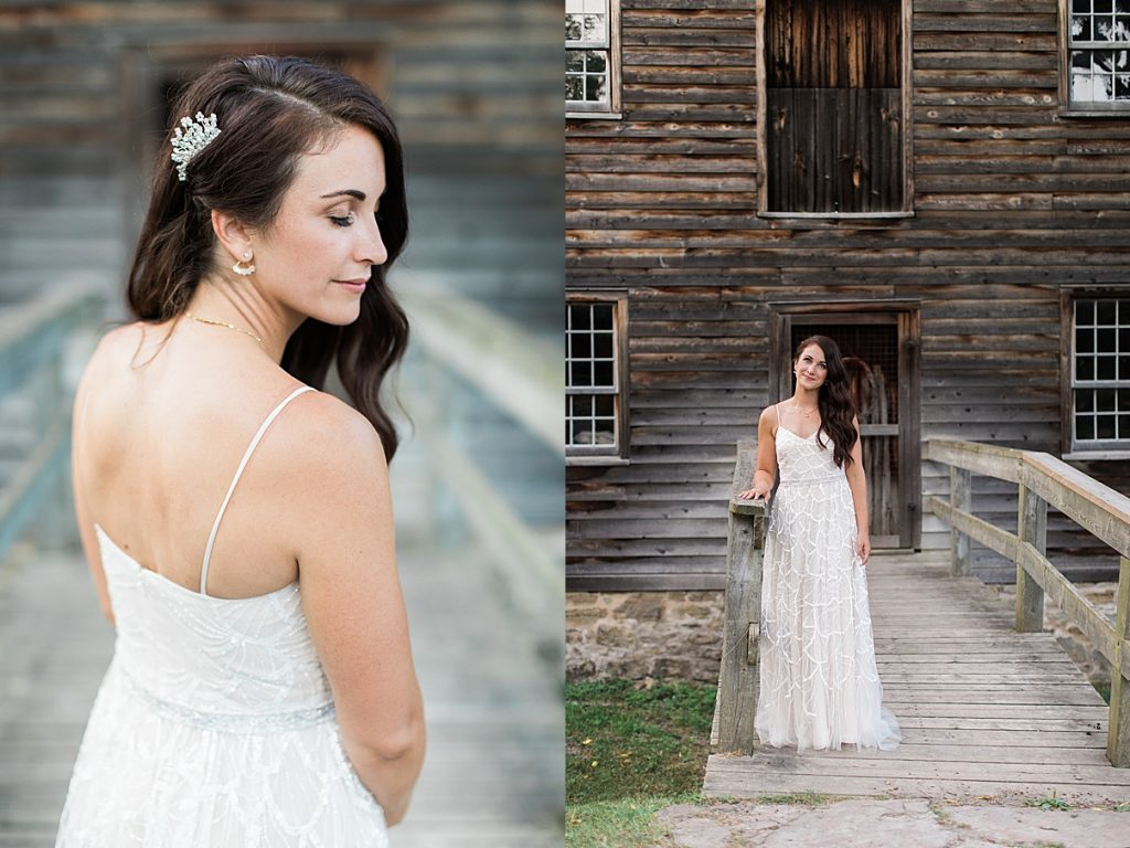 Bridal portrait in front of abandoned house | Balls Falls, Ontario Wedding| Ontario Wedding Photographer| Toronto Wedding Photographer| 3Photography| 3photography.ca