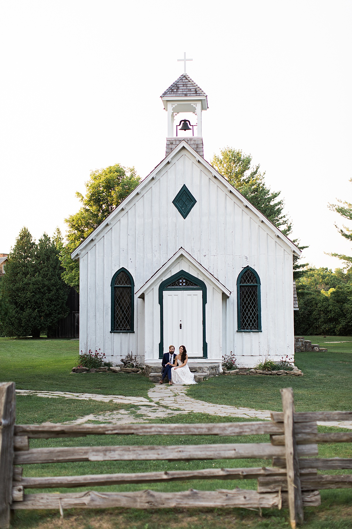 Bride and groom in front of chapel | Balls Falls, Ontario Wedding| Ontario Wedding Photographer| Toronto Wedding Photographer| 3Photography| 3photography.ca