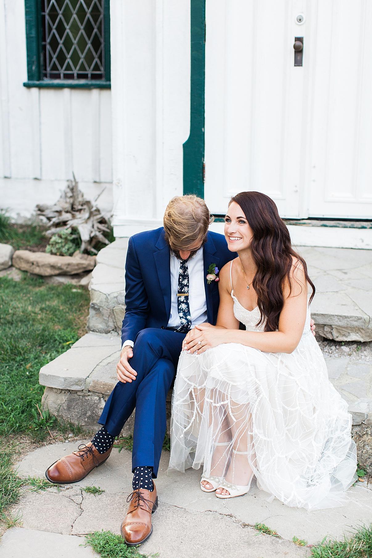 Bride and groom laughing on porch | Balls Falls, Ontario Wedding| Ontario Wedding Photographer| Toronto Wedding Photographer| 3Photography| 3photography.ca