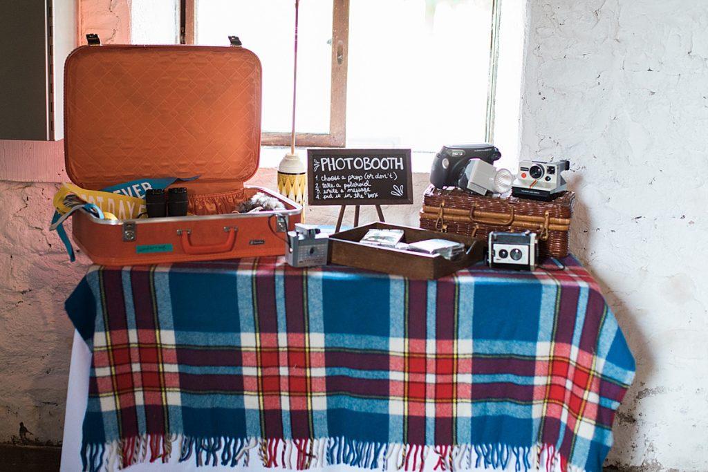 Vintage suitcase with invitation to take photos at reception| Balls Falls, Ontario Wedding| Ontario Wedding Photographer| Toronto Wedding Photographer| 3Photography| 3photography.ca