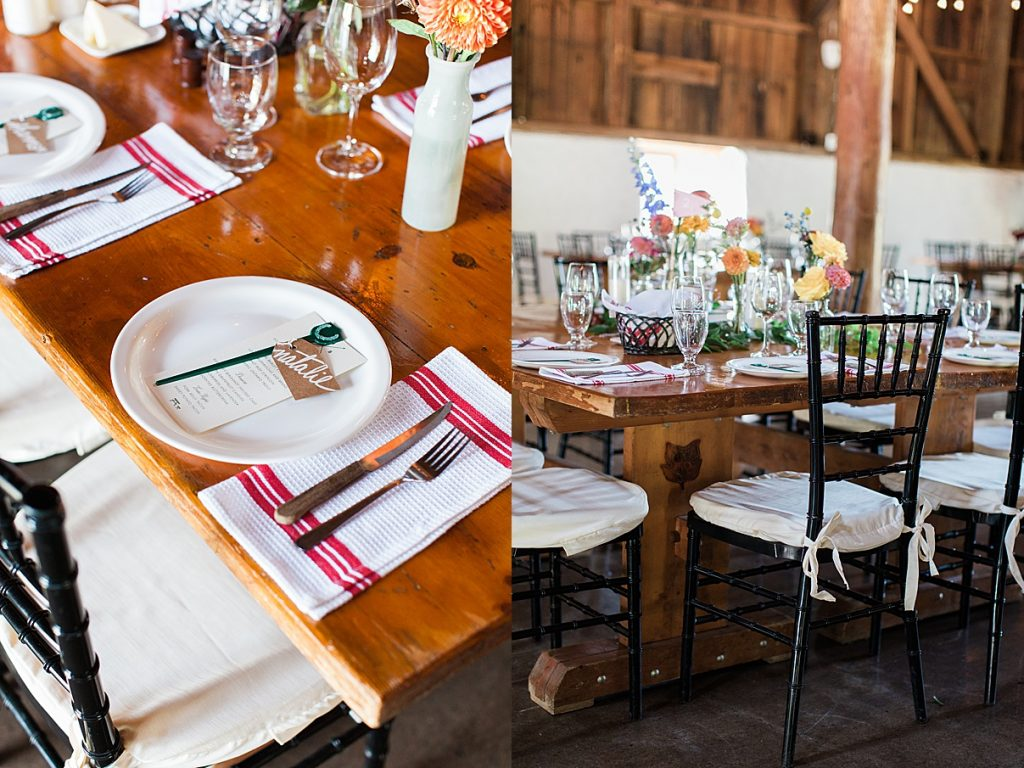 Reception table place setting | Balls Falls, Ontario Wedding| Ontario Wedding Photographer| Toronto Wedding Photographer| 3Photography| 3photography.ca