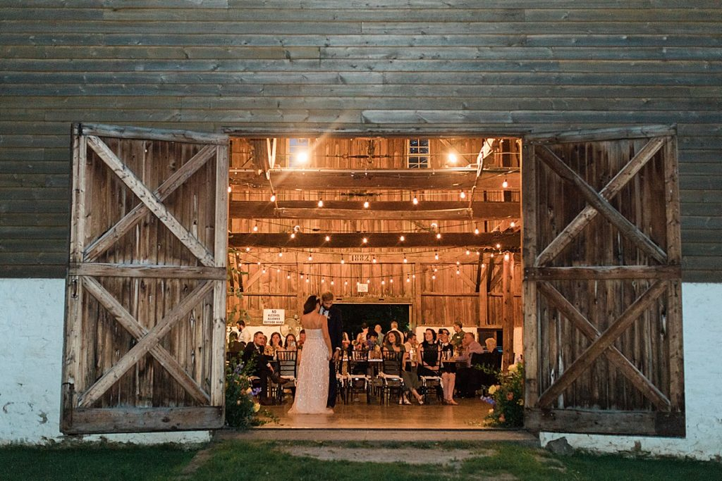 Outside view of barn while bride and groom dance | Balls Falls, Ontario Wedding| Ontario Wedding Photographer| Toronto Wedding Photographer| 3Photography| 3photography.ca