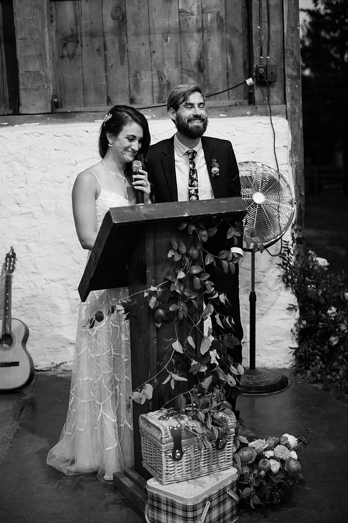 Black and white shot of bride and groom speech | Balls Falls, Ontario Wedding| Ontario Wedding Photographer| Toronto Wedding Photographer| 3Photography| 3photography.ca