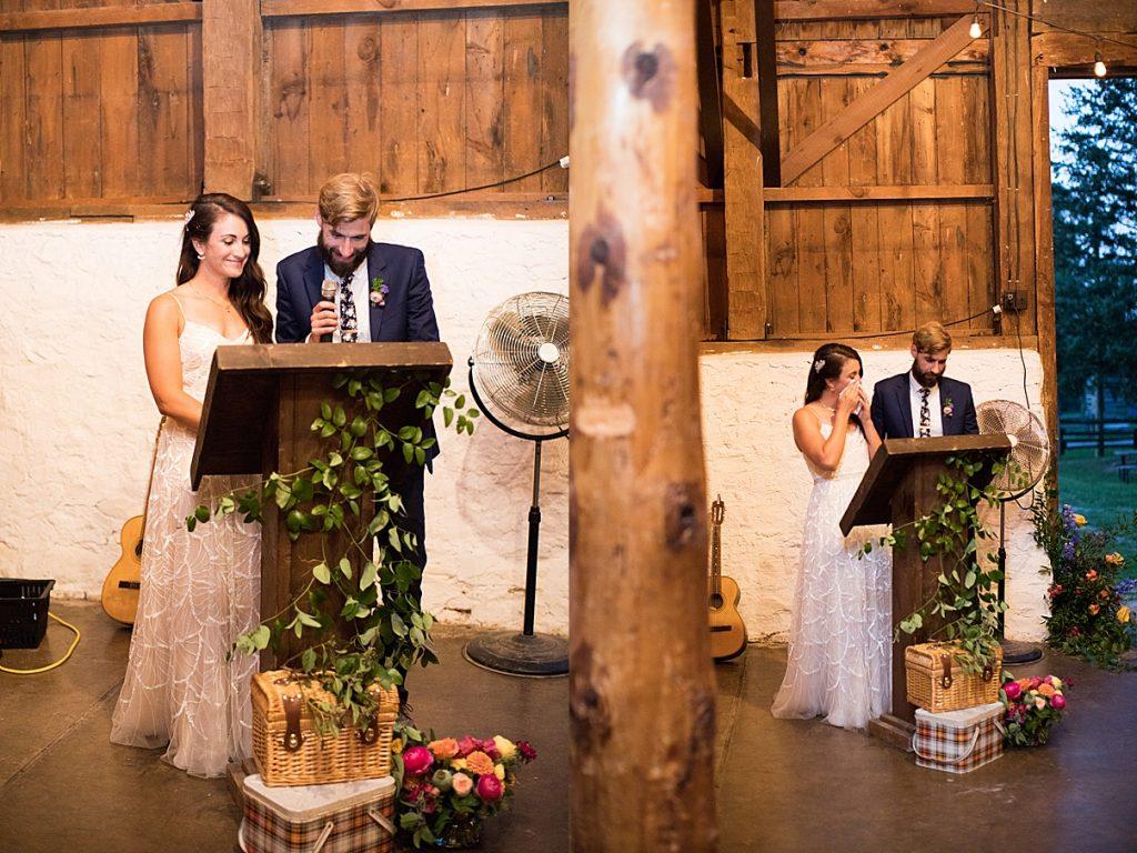 Bride and groom give teary eyed speeches | Balls Falls, Ontario Wedding| Ontario Wedding Photographer| Toronto Wedding Photographer| 3Photography| 3photography.ca