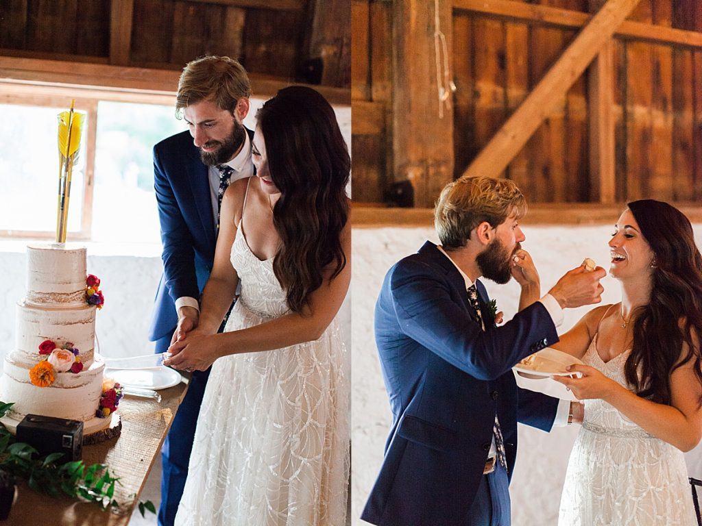Bride and groom cut cake and feed each other | Balls Falls, Ontario Wedding| Ontario Wedding Photographer| Toronto Wedding Photographer| 3Photography| 3photography.ca