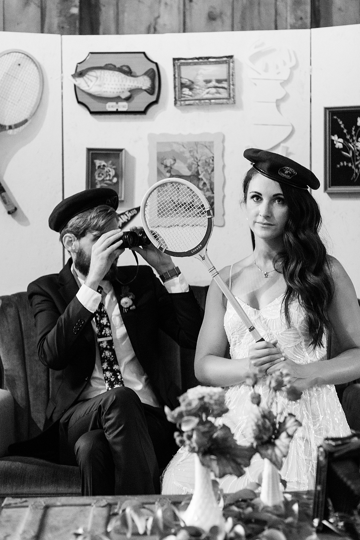 Bride and groom play dress up ink props | Balls Falls, Ontario Wedding| Ontario Wedding Photographer| Toronto Wedding Photographer| 3Photography| 3photography.ca