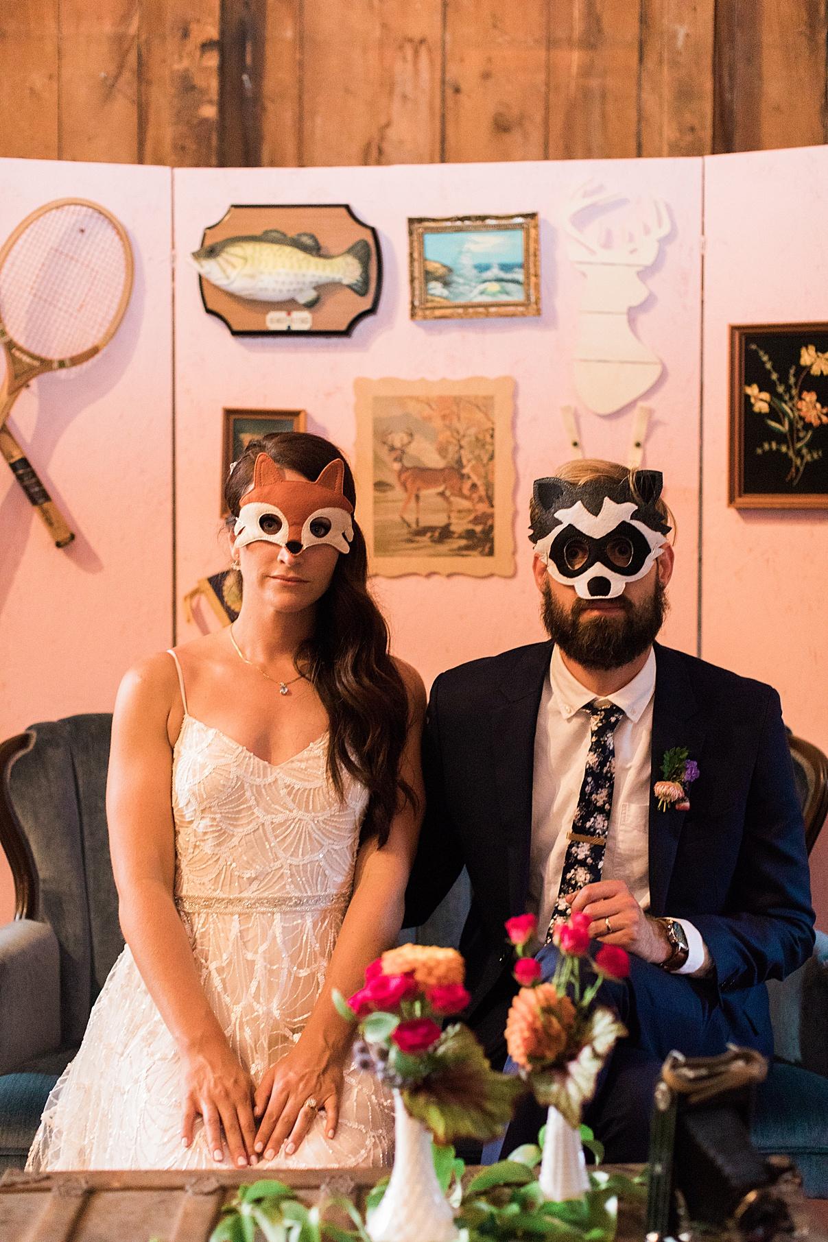 Bride and groom in animal masks | Balls Falls, Ontario Wedding| Ontario Wedding Photographer| Toronto Wedding Photographer| 3Photography| 3photography.ca